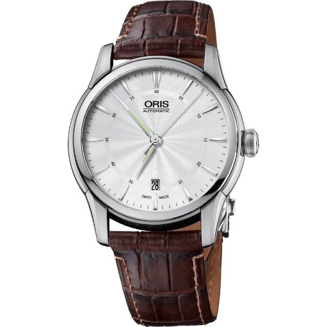 【ORIS 豪利時】Artelier Date 藝術家機械錶-銀x咖啡/40mm(0173376704051-0752170FC)