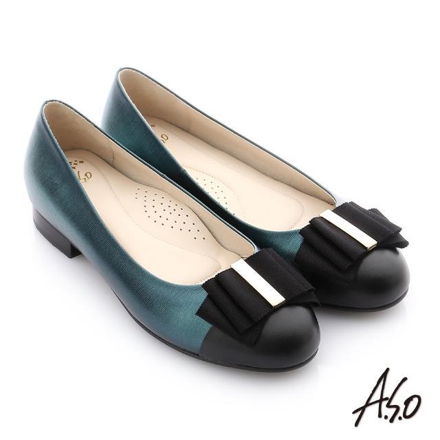 【A.S.O 阿瘦集團】個性美型 全真皮蝴蝶結奈米低跟鞋(蒂芬妮綠)