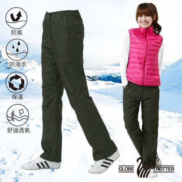 【遊遍天下】顯瘦女款防風防潑水禦寒刷毛長褲/ 防風雪褲 二色(M-3L)