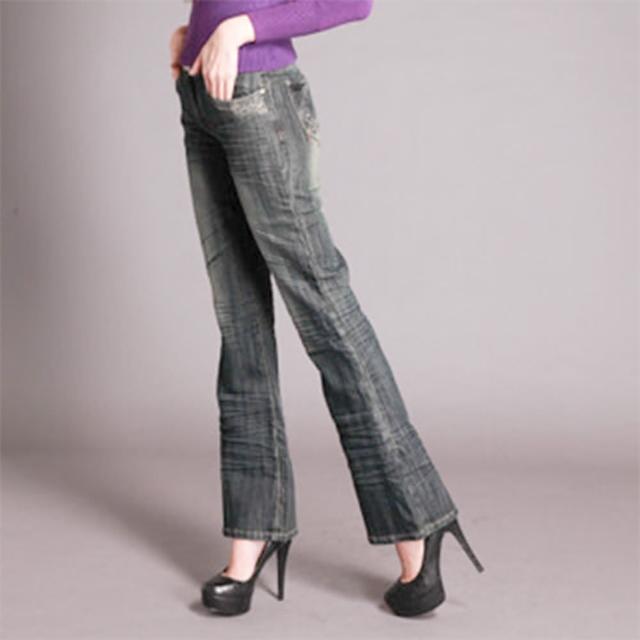 【RH】日系多層次抓皺街頭時尚晶鑽丹寧喇叭褲(深藍原價1080下殺出清中)