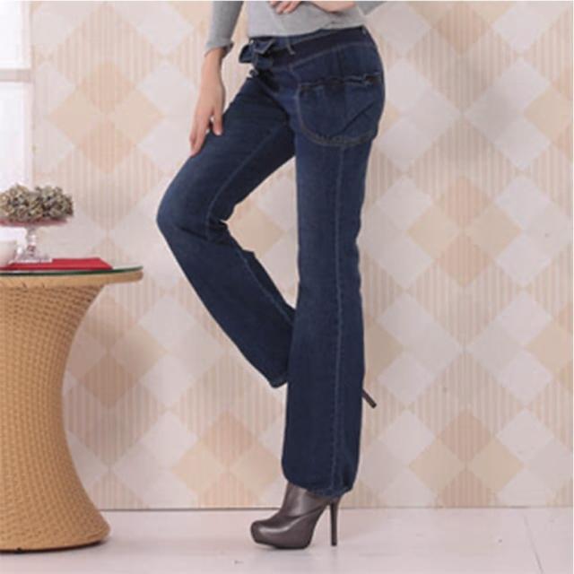 【RH】日系清甜花苞口袋牛仔褲(牛仔藍)