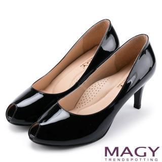【MAGY】氣質魅力款 嚴選素面牛皮氣質露趾高跟鞋(黑色)