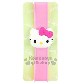 【小禮堂】Hello Kitty 矽膠便當盒束帶《粉.立體大臉》最大周圍長度30cm