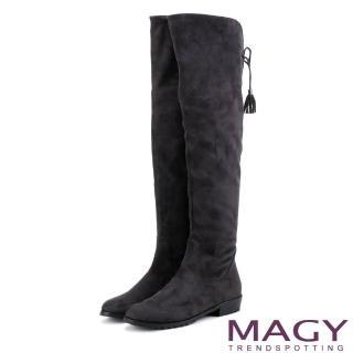 【MAGY】展現獨特風采 2WAY造型後邊綁帶絨布膝上靴(灰色)