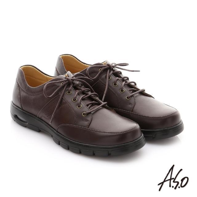 【A.S.O 阿瘦集團】挺力氣墊系列 全真牛皮綁帶機能紳士休閒鞋(咖啡)