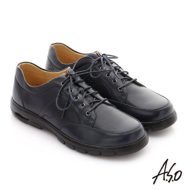 【A.S.O 阿瘦集團】挺力氣墊系列 全真牛皮綁帶機能紳士休閒鞋(深藍)