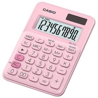 【CASIO 卡西歐】10位元繽紛馬卡龍色迷你型計算機-草莓粉(MS-7UC-PK)