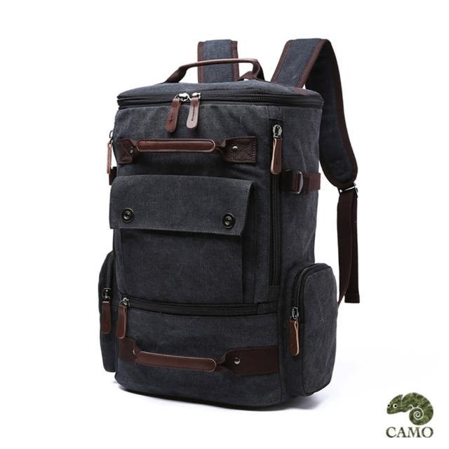 【CAMO】韓版大容量雙肩帆布後背包(黑色)
