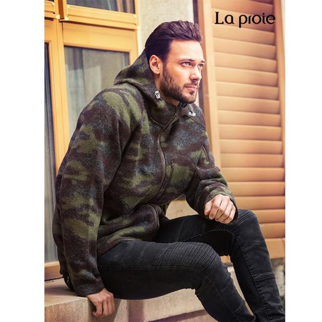 【La proie 萊博瑞】男式休閒羊毛外套(軍綠迷彩-保暖蓄熱舒適)