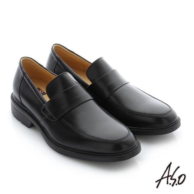 【A.S.O 阿瘦集團】學生鞋 真皮素面直套學生鞋(黑軟皮)