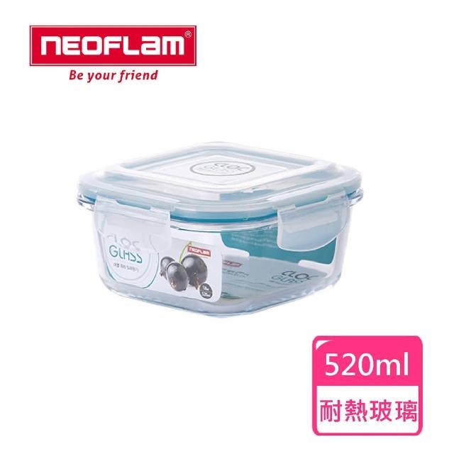 【NEOFLAM】CLOC系列耐熱玻璃保鮮盒(正方形520ml)