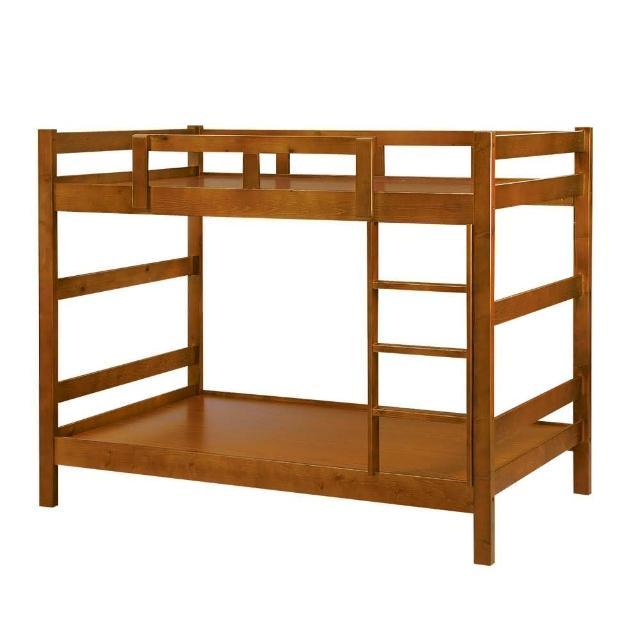 【Bernice】日系簡約實木3.5尺雙層床架(胡桃色)