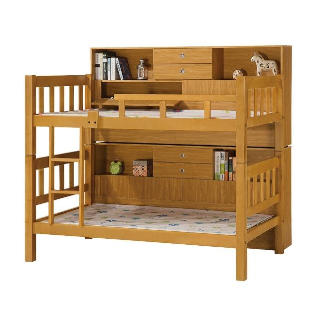 【Bernice】尊爵方柱3.5尺實木雙層床架(含邊櫃)
