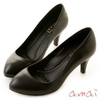 【amai】職場工作鞋。真羊皮柔軟夾心尖頭高跟鞋(黑)