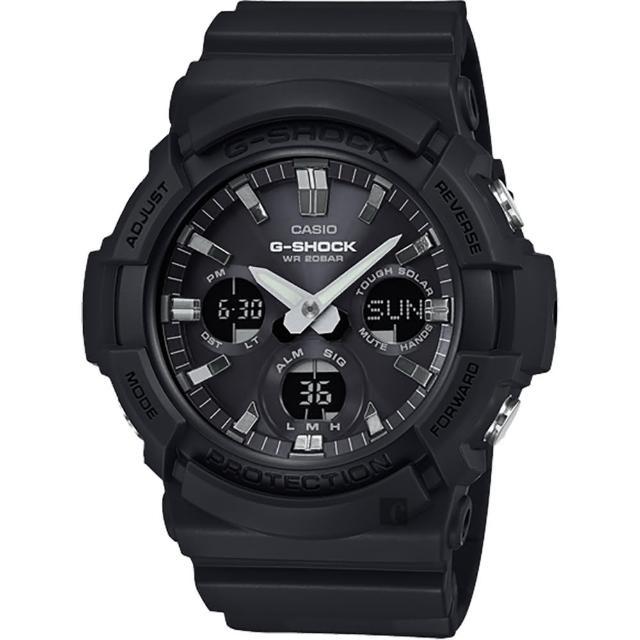 【CASIO 卡西歐】G-SHOCK 強悍太陽能黑色鋁框三眼錶-黑(GAS-100B-1A)
