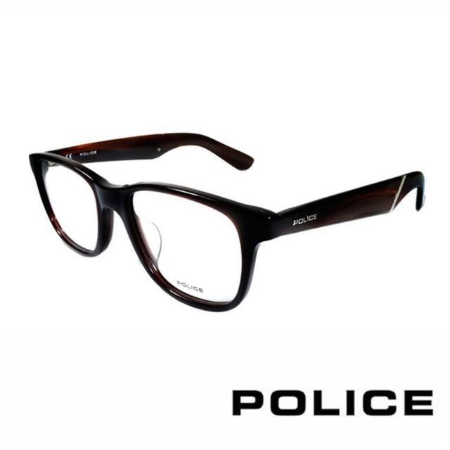 【POLICE】義大利警察都會款個性型男眼鏡(POV1792M958X 咖啡)