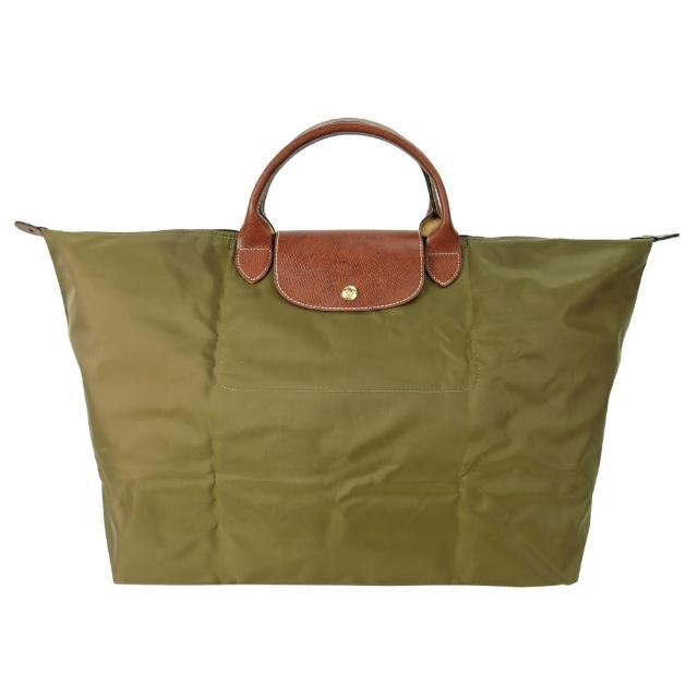 【LONGCHAMP】LE PLIAGE短把手提旅行袋(大/卡其綠)