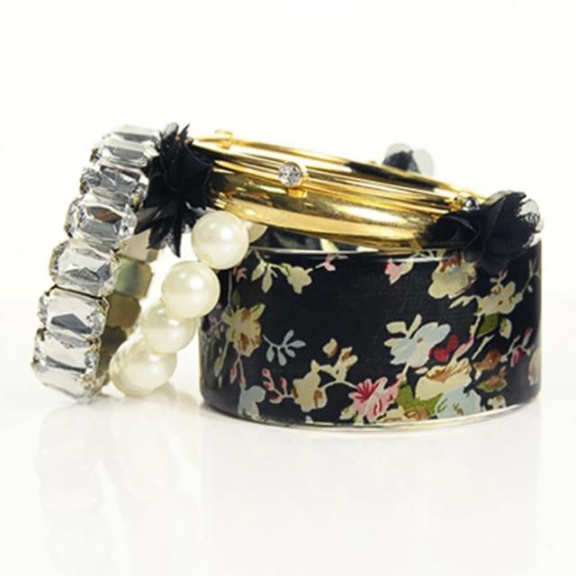 【Lady c.c.】浪漫酒氛珍珠多層次手環(黑)