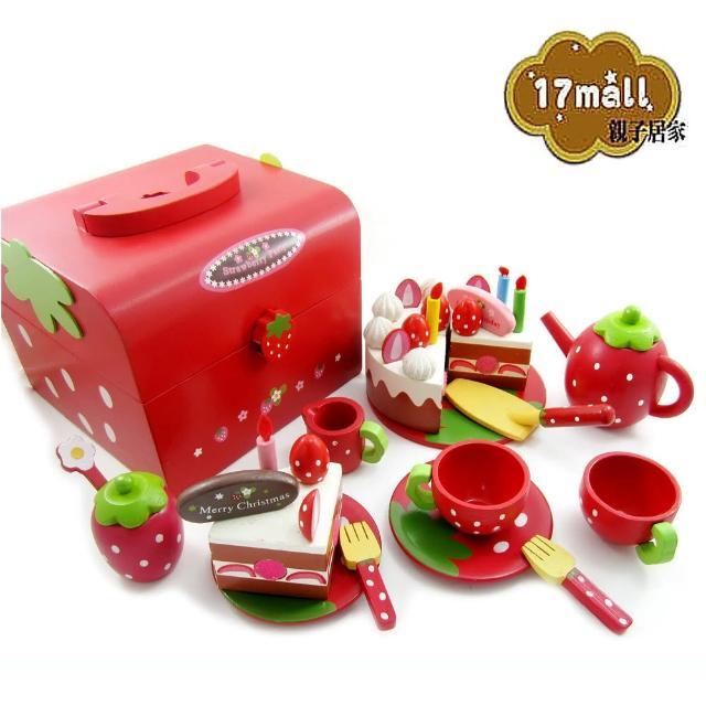 【17mall】草莓蛋糕點心木製玩具手提組(家家酒 木製玩具35件)