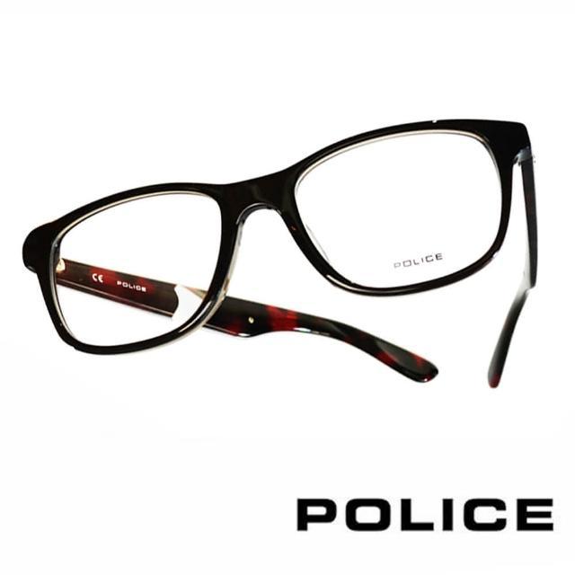 【POLICE】義大利警察都會款個性型男眼鏡(POV1792M0D90 琥珀紅)