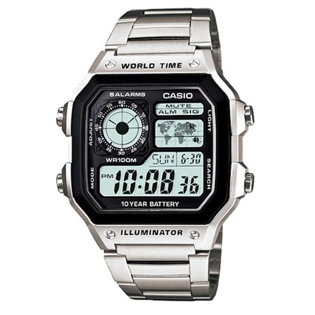 【CASIO 卡西歐】十年之旅世界城市數位錶(AE-1200WHD-1A)