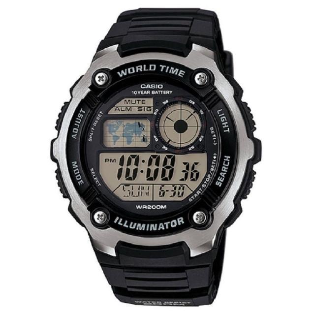 【CASIO 卡西歐】10年電力世界時間運動錶(AE-2100W-1A)