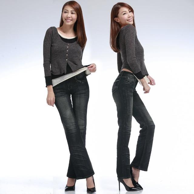 【RH】日系多層次抓皺時尚晶鑽丹寧喇叭褲(甲配深藍原價1080新品上市)