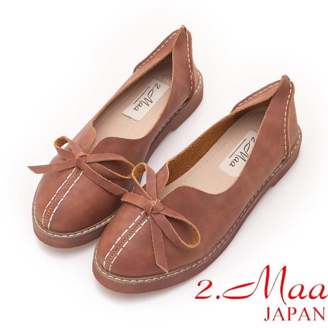 【2.Maa】簡約造型手工蝴蝶結打蠟包鞋(咖啡)