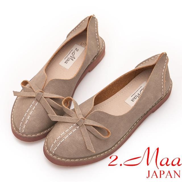 【2.Maa】簡約造型手工蝴蝶結打蠟包鞋(米)