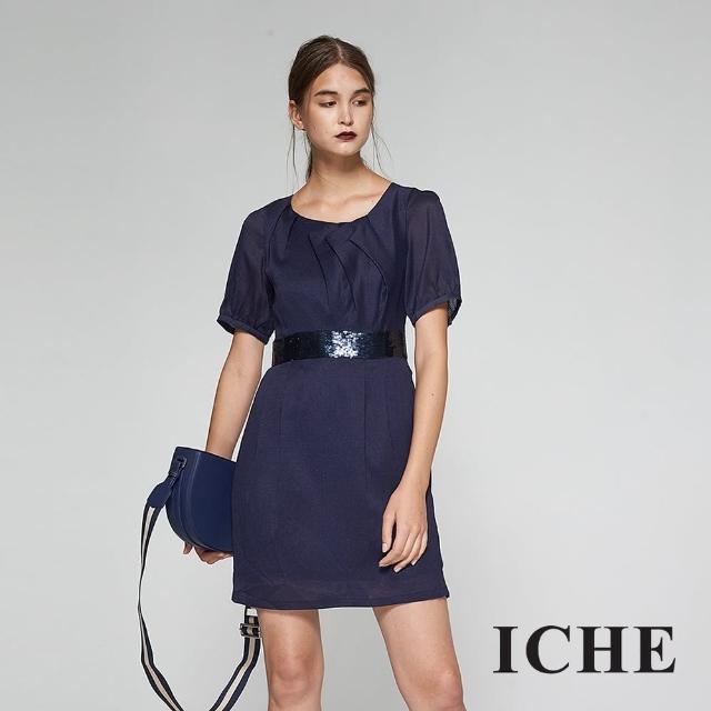 【ICHE 衣哲】質感前打摺拼接亮片腰身造型洋裝-藍-兩色