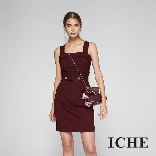 【ICHE 衣哲】馬甲吊帶腰身荷葉拼接羊毛造型洋裝-紅