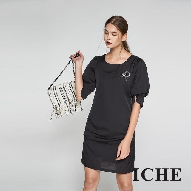 【ICHE 衣哲】時尚簡約立體抓摺五分袖造型洋裝-黑