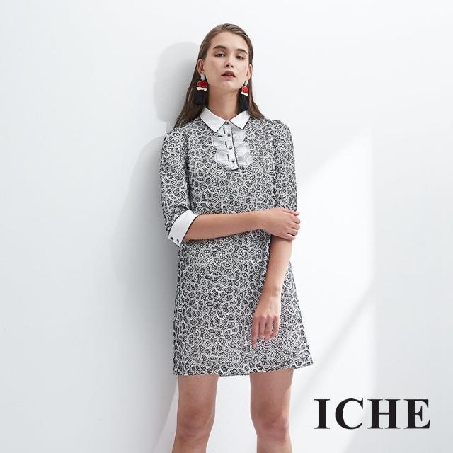 【ICHE 衣哲】立體簍空印花設計拼接荷葉襯衫式洋裝