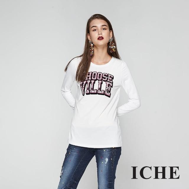 【ICHE 衣哲】字母印花鑲飾長版造型上衣-白-兩色