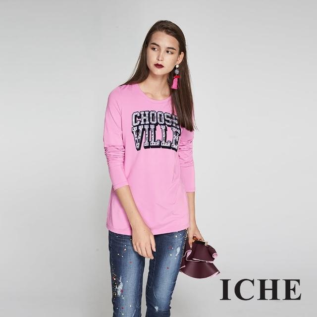 【ICHE 衣哲】字母印花鑲飾長版造型上衣-粉-兩色