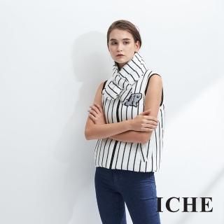 【ICHE 衣哲】領巾可拆 羊毛條紋字母印花造型背心-黑-兩色