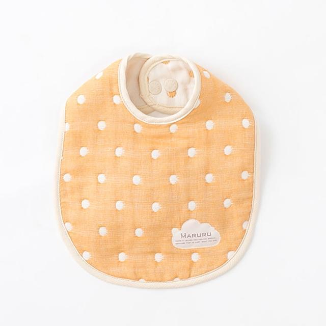 【MARURU】日本六層紗口水圍兜 點點橙(日本六層紗圍兜/多層紗口水巾)