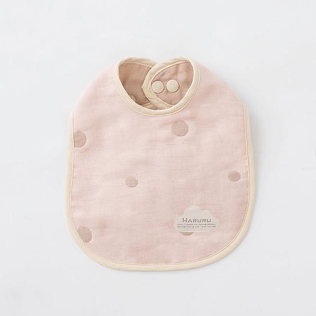 【MARURU】日本五層紗口水圍兜 嬰兒粉(日本五層紗圍兜/多層紗口水巾)