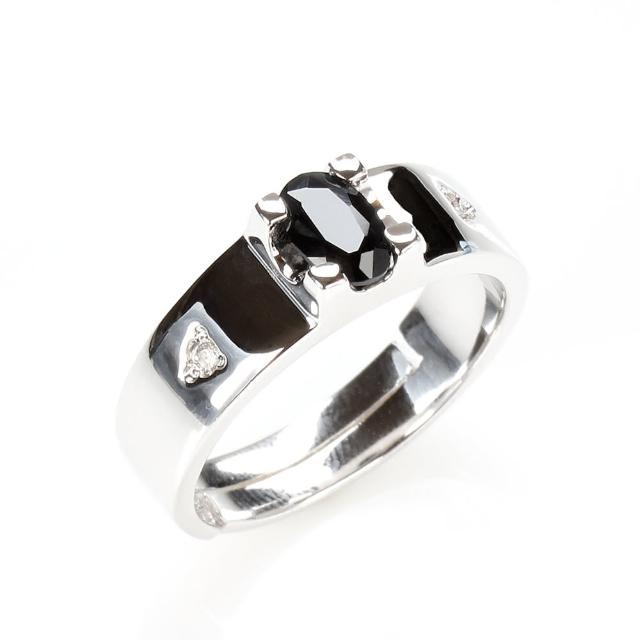 【寶石方塊】相依相偎天然0.5克拉黑藍寶石戒指-活圍設計