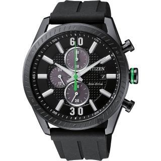 【CITIZEN 星辰】光動能渦輪時尚計時手錶-黑/ 43mm(CA0667-12E)