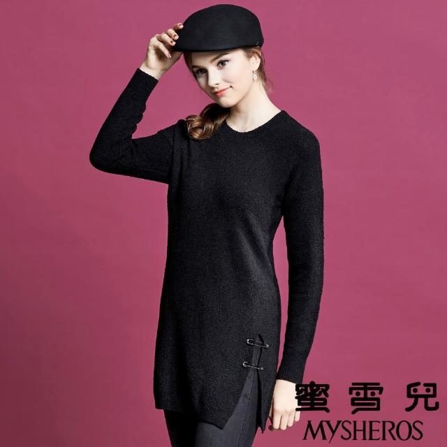 【mysheros 蜜雪兒】圓領造性雙別針長版針織上衣(黑)
