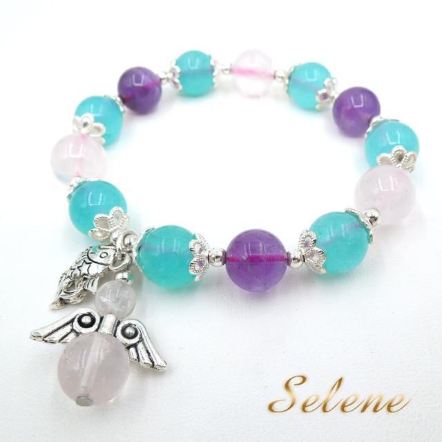 【Selene】紫水晶繽紛三色寶石手鍊