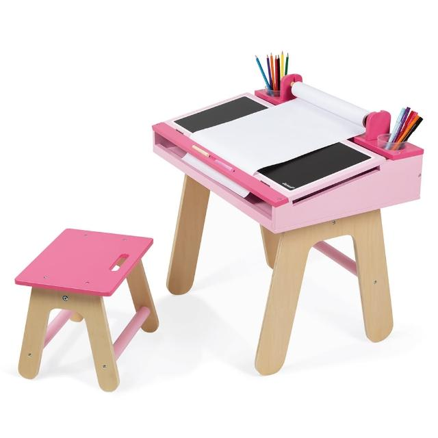 【Janod】兒童學習畫桌組(粉紅)