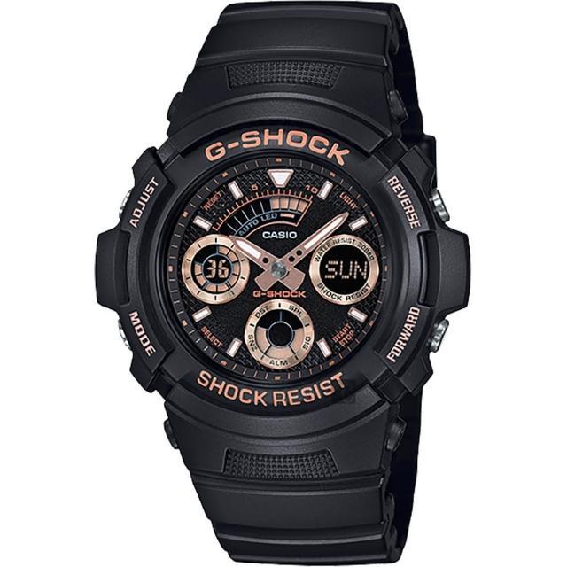 【CASIO 卡西歐】G-SHOCK 賽車運動手錶-玫瑰金x黑(AW-591GBX-1A4DR)