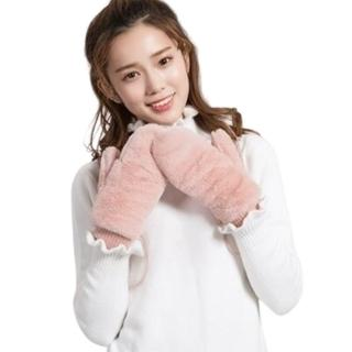 【米蘭精品】兔毛手套針織手套(翻蓋加絨連指可掛脖女手套4色73or15)
