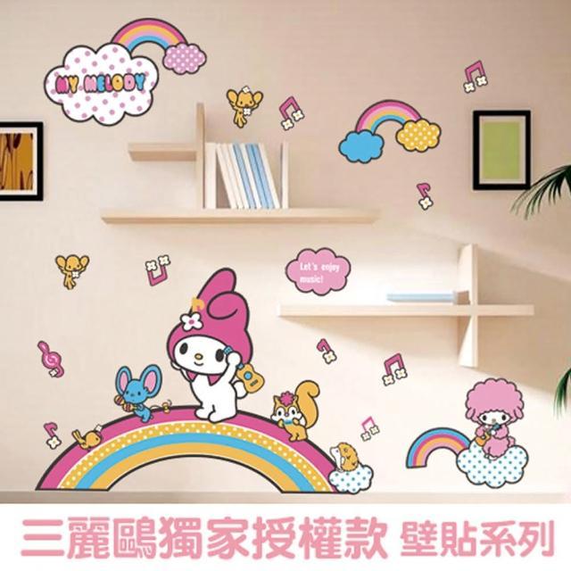 【半島良品】Hello Kitty與美樂蒂正版壁貼-烏克麗麗(美樂蒂 Hello Kitty 無痕壁貼 牆貼 壁貼紙 創意璧貼)