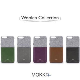 【Mokka】Mokka Iphone 8英倫風絨布拼接撞色手機保護殼(手工背蓋 皮背蓋)