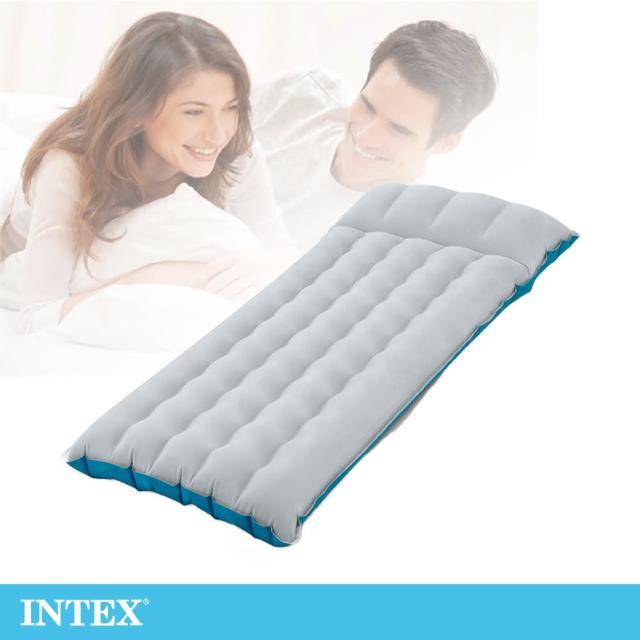 【INTEX】單人野營充氣床墊/露營睡墊-寬67cm-灰藍色(67997)