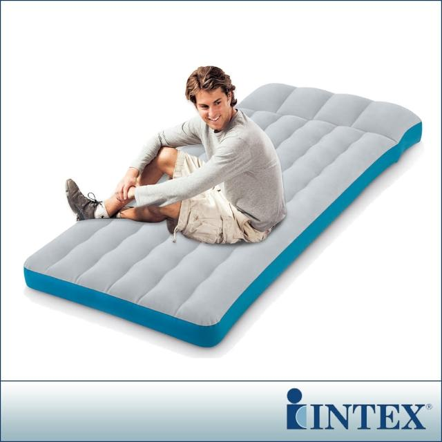 【INTEX】單人野營充氣床墊/露營睡墊-寬72cm-灰藍色(67998)