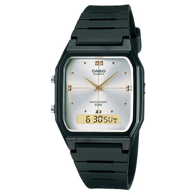【CASIO 卡西歐】方型雙顯經典電子錶(AW-48HE-7A)